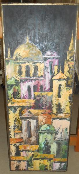 Oil on Masonite of Istanbul with 1965 art Exhibition Tag signed Yani