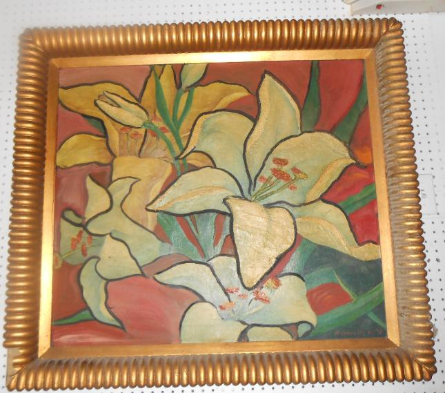 Large Oil on Canvas signed M. Rohowsky of Lilies dated 1942