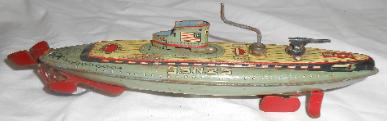 1940's Tin Litho Submarine wind up toy SSN 25