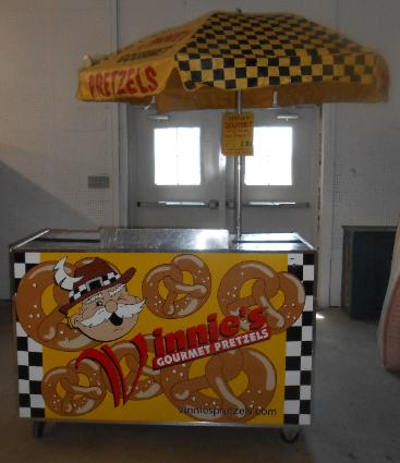 Outdoor Pretzel Vending cart with umbrella