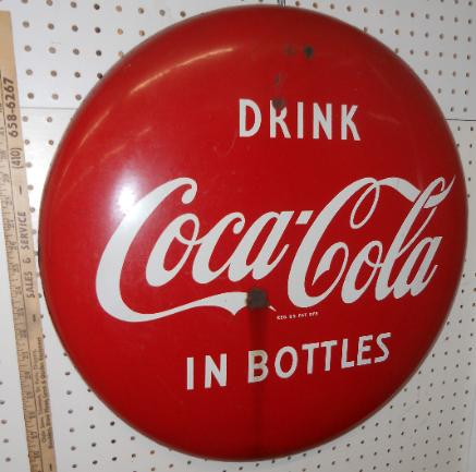 Coca-Cola Metal Advertising Button  for auction