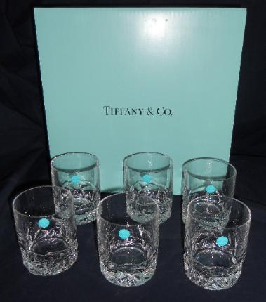 Six Tiffany and Co. Double Old Fashion Crystal Glasses with box