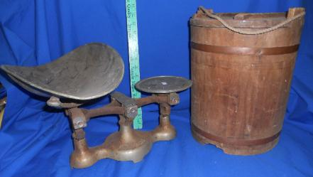 Asian wooden bucket with lid, Fairbanks balance scale