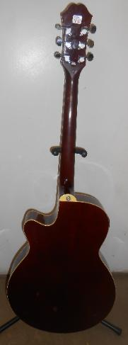 back of Epiphone acoustic guitar