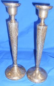 Stieff Sterling candlesticks 10 inches