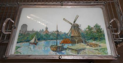 serving tray with windmill scene